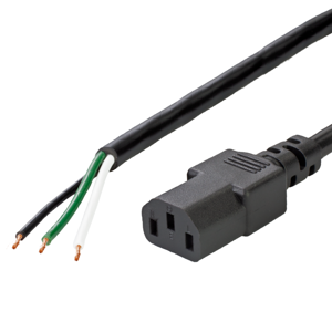 13A OPEN to IEC 60320 C13 Power Cords - BLACK