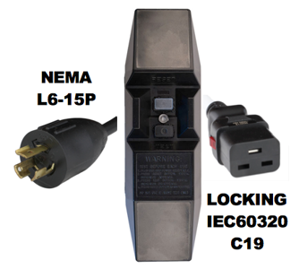 MANUAL RESET - INLINE STYLE - NEMA L6-15P to LOCKING IEC60320 C19 GFCI POWER CORD