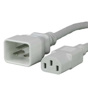 15A C20 C13 Power Cords - WHITE