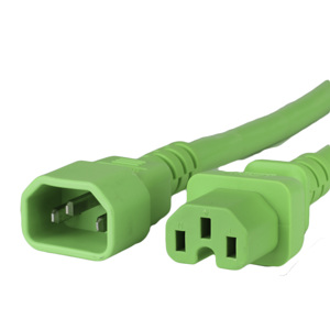 15A C14 C15 Power Cords - GREEN