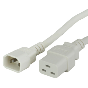 15A C14 C19 Power Cords - WHITE