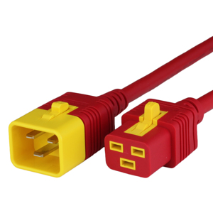 16A V-Lock C20 C19 Power Cords - RED