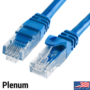 Plenum - Made is USA - Unshielded Cat6 Blue Patch Cable - Molded Boot/Snagless
